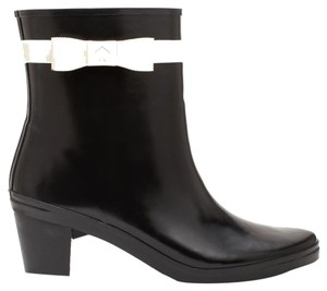 Kate Spade Designer Rain Rainboots Rubber White Bow Logo Weather Fall Winter Waterproof Fashion New York Luxury Runway Black Boots