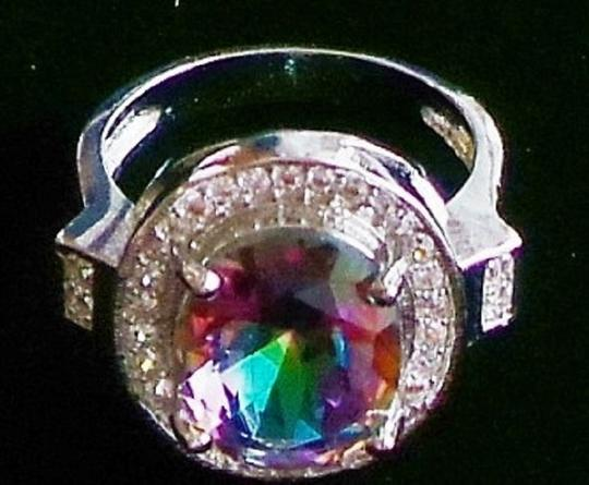 Other Oval Faceted Mystic Topaz 925 Sterling Silver 14k Ring 6