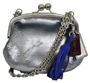 Coach Evening Sequin Brass Hardware Silver/Pewter Clutch