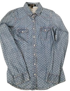Forever 21 Jeanshirt Polka Dot Jeans Button Down Shirt blue