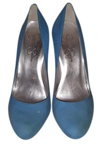 Jessica Simpson Leather Neon Cobalt Royal Suede Blue Pumps