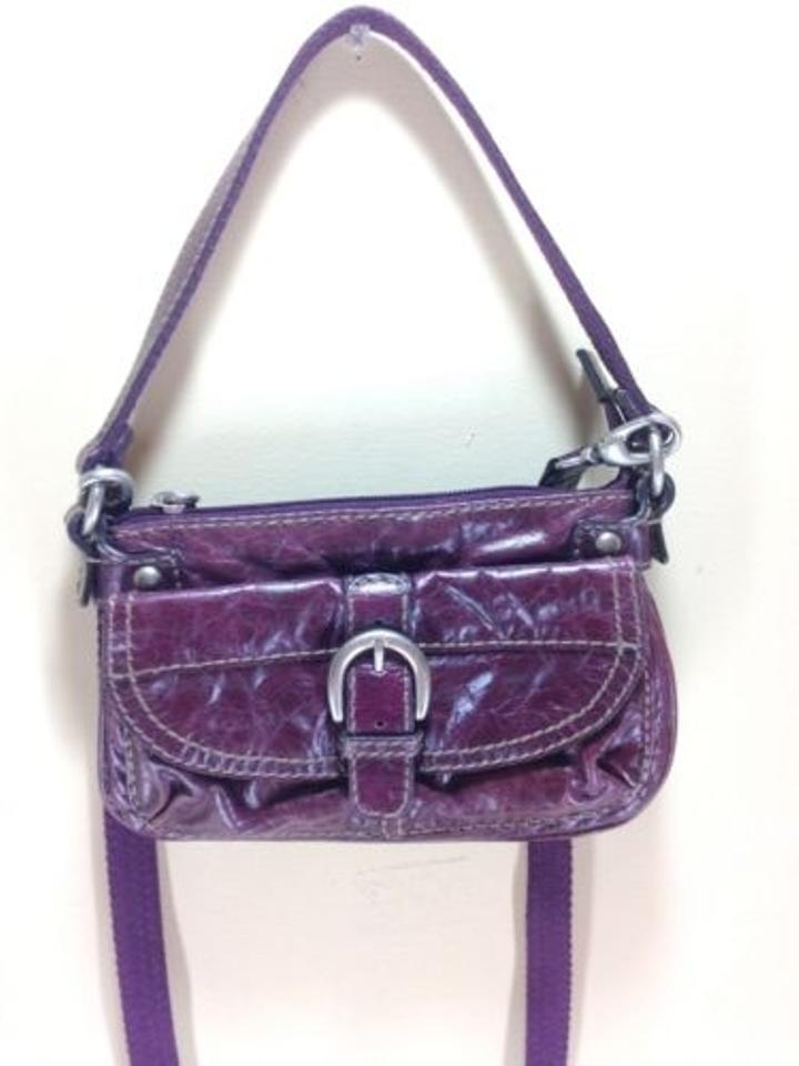 a58d872fde04 Fossil Long Live Vintage Maroon Leather Canvas Cross Body Bag Image 0 ...