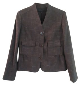 Lafayette 148 New York Tweed Peplum Wool Lined brown Blazer