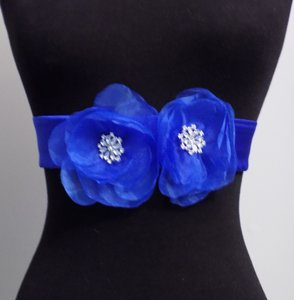 Wedding Sashes Bridal Belts Hand Made Flower Shining Crystal Beads Satin -blue