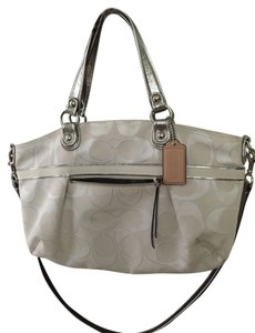 Coach white and silver Messenger Bag