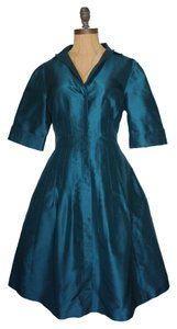 Jones New York Silk Teal Textured Dress