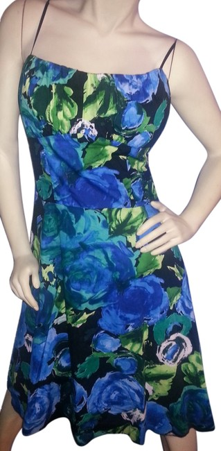 Preload https://img-static.tradesy.com/item/6780475/dress-barn-teal-green-blue-yellow-white-floral-on-black-fit-and-flare-mid-length-night-out-dress-siz-0-1-650-650.jpg