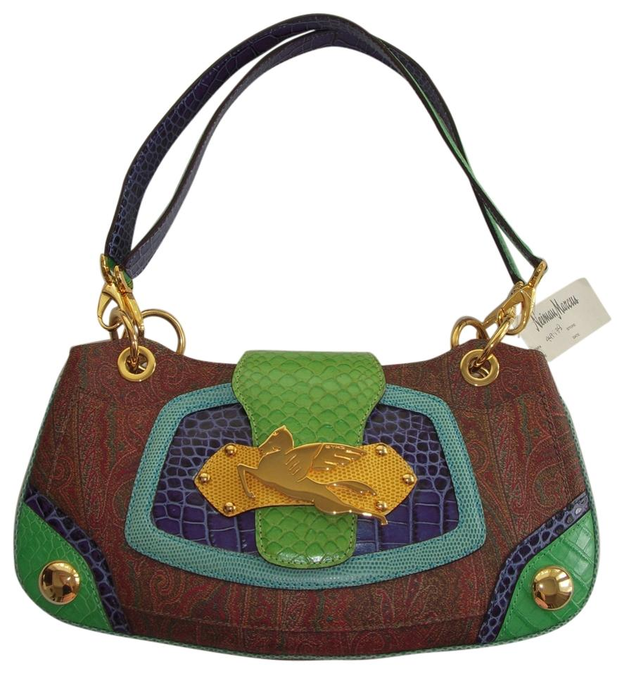 40ce8564e023 Etro Paisley Print And Multi Navy Teal Green Yellow Gold Tone Coated ...