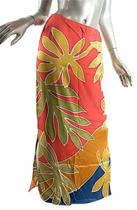 Oscar de la Renta Vintage Batik Maxi Skirt Orange and Gold