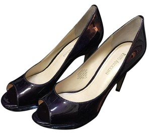 Enzo Angiolini Eademario Patent Leather Peep Toe Comfortable Plum Platforms