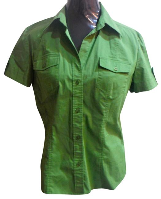 New York & Company Short Sleeve Button Front Top green