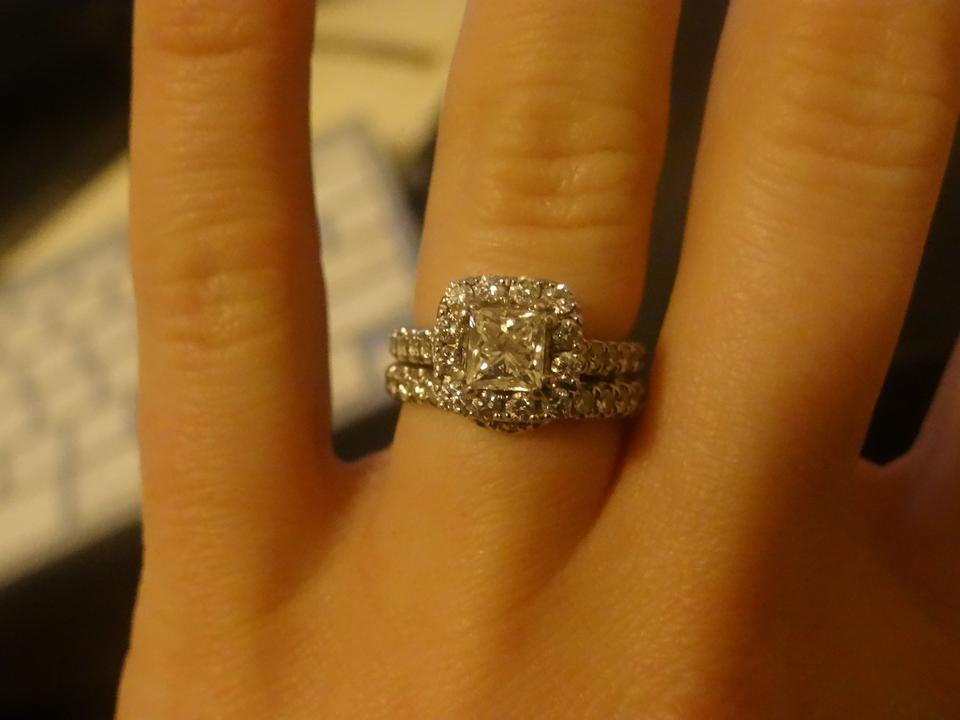Engagement Ring 1 1 2 Ct Tw Diamonds 14k White Gold With Matching Women