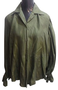Express Full Sleeve Top olive green silk