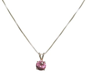 Other Sterling Silver Box Chain with Brilliant Cut Pink CZ Stone