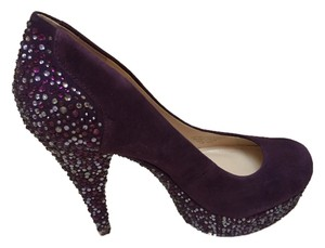 Enzo Angiolini Platform Sequin Dark Purple Pumps