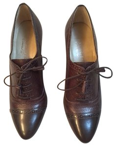 Talbots Leather Lace Up Dressy Oxford Style Menswear Heel brown Pumps