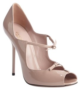 Gucci Patent Leather Strappy Pee Toe Pale pink Pumps