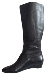 Via Spiga Leather Pull-on Black Boots