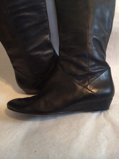 Via Spiga Leather Pull-on Low Wedge Black Boots
