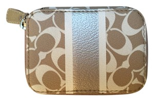 Coach Coach Travel Pill Case with Logo Pattern and Gold Band