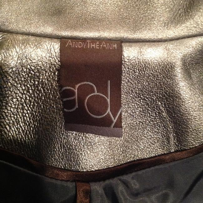 Andy The-Anh Gray Size 8 Bomber Silver Metallic Leather Leather Jacket