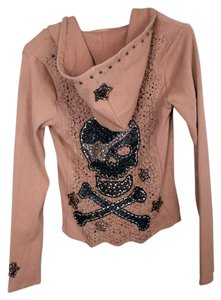 Soul Revival Scull & Cross Bones Crochet M. Fredric Leather Studded Studded Vintage Sweatshirt
