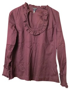 Banana Republic Machine Washable Ruffle Top Plum Purple