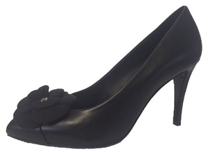 Chanel Camellia Pointed Toe Pump Black Pumps
