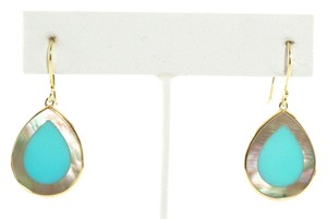 Ippolita Ippolita 18K Gold Turquoise Brown Shell Teardrop Earrings Yellow Hook Small New!