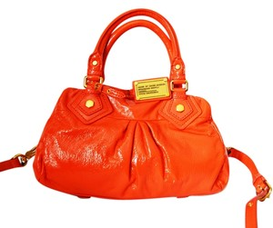 Marc by Marc Jacobs Patent Leather Brass Logo Logo Lining Satchel in Orange