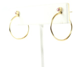 Ippolita Ippolita 18K Yellow Gold Pink Sapphire Hoop Earrings Small Post 3/4