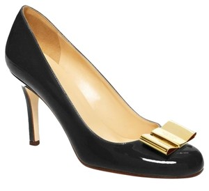Kate Spade Bow Heel Wedding Date Night Heels Bow Girly Leather Patent Heel Black Pumps