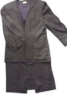 Pierre Cardin Vintage Pierre Cardin Collarless Tailored Skirt Wool Brown Tweed Suit ~Sz 10 L