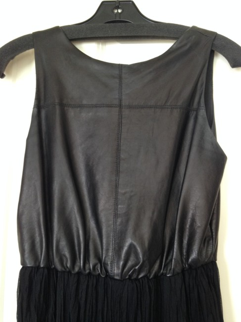 Alice + Olivia Leather Chiffon Dress