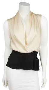 Chanel Sleeveless Silk White Top Black/White