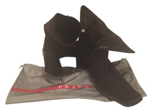 Prada Foldover Neoprene Leather black Boots