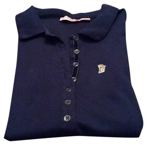 Juicy Couture Navy Blue Polo 3/4 Sleeve Polo Button Down Shirt