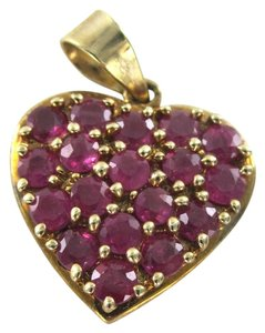 10KT YELLOW SOLID GOLD HEART PENDANT VALENTINES RUBIES LOVE FINE JEWELRY CHARM
