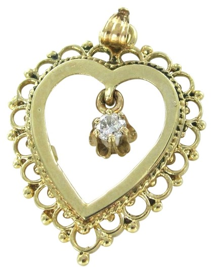Other 14KT YELLOW SOLID GOLD HEART DIAMOND PENDANT LOVE 2.4 GRAMS JEWELRY