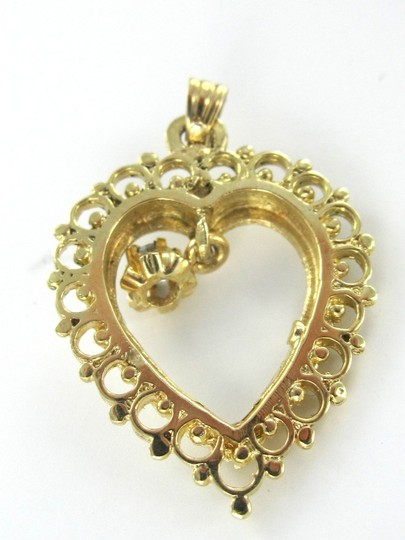 Other 14KT YELLOW SOLID GOLD HEART PENDANT VALENTINES DIAMOND LOVE 2.4 GRAMS JEWELRY
