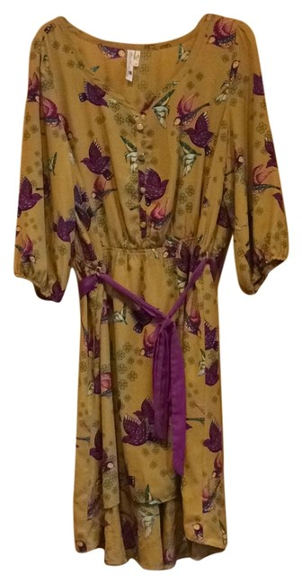 Item - Mustard/Multi Flutter You Waiting For? High-low Short Casual Dress Size 20 (Plus 1x)