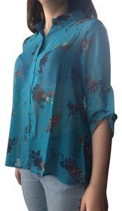 Xhilaration Hi Lo Pleated Chiffon Floral Top Turquoise