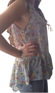 Mossimo Supply Co. Hi Lo Pleated Chiffon Floral Top Blue
