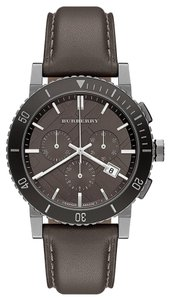Burberry Burberry Watch, Men's Swiss Chronograph Gray Leather Strap 42mm BU9384