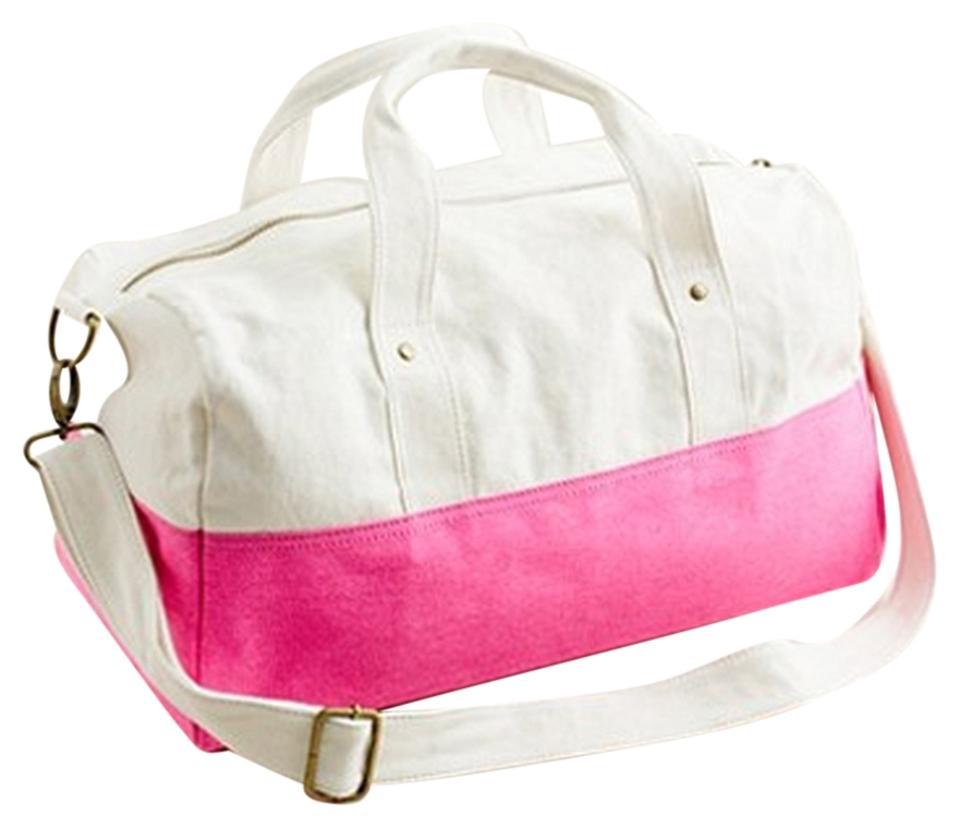 5cc5d63caa31 J.Crew Colorblock Canvas Overnight Kids White Neon Pink Travel Bag