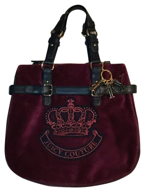 Item - Deep Berry/Plum Velvet with Leather Accents and Handles Cross Body Bag