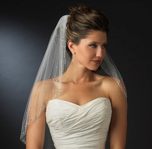 Elegance By Carbonneau Rhinestone Accented Elbow Wedding Veil In Ivory