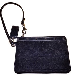 Coach Monogram Wristlet in Black shimmer/Silver