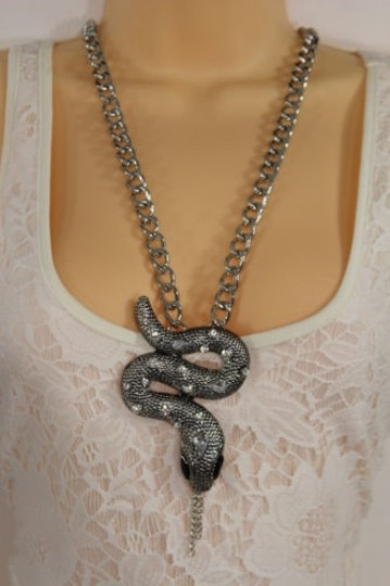 Alwaystyle4you Women Necklace Silver Metal Chains Snake Pendant Charm Rhinestones Image 11