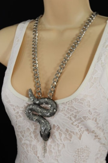 Alwaystyle4you Women Necklace Silver Metal Chains Snake Pendant Charm Rhinestones Image 3